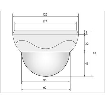 AHDドーム型カメラ PSDH-A100F (ワンケーブルタイプ PSDH-A100F-VP)の成否図面