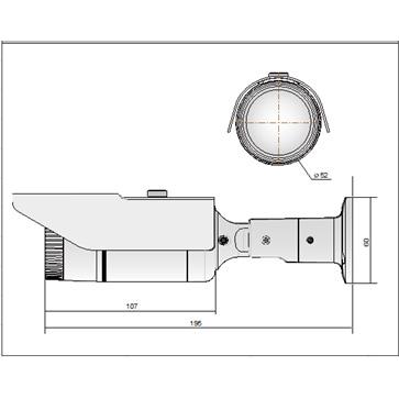AHD屋外用ワンケーブルカメラ PSIR-A124R-VPの成否図面