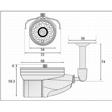 AHD屋外用カメラ PSIR-A124Rの成否図面