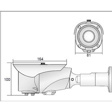 AHDバリフォーカル屋外用カメラ PSIR-A140V1F (ワンケーブルタイプ PSIR-A140F-VP)の成否図面